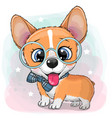 cartoon dog corgi with a blue bowtie and glasses vector image vector image