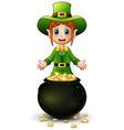 cartoon girl leprechaun presenting with a pot of g vector image