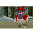 cartoon grim and serious woodcutter with an ax vector image vector image