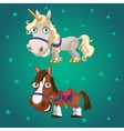 Cartoon image of the horse and the unicorn vector image vector image