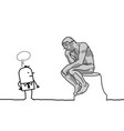 cartoon man watching a famous thinking statue vector image