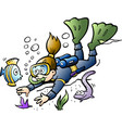 cartoon of a diver looking at colorful fish vector image vector image
