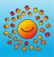 childly smiling and soft touching sun vector image vector image
