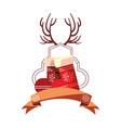 christmas socks horns ribbon decoration vector image vector image