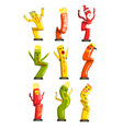 colorful dancing inflatable tube men set with vector image vector image