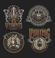 colorful viking vintage prints vector image vector image