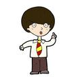 comic cartoon school boy answering question vector image vector image