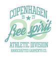 copenhagen sport t-shirt design vector image vector image