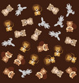 cute animals group pattern background vector image vector image