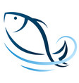 cute fish on wave vector image vector image