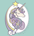 cute magic unicorn head with horn vector image vector image