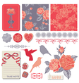 Design Elements - Vintage Roses and Birds vector image vector image