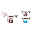 dissipated pixel halftone drone drop cargo icon vector image vector image