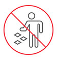 do not litter thin line icon prohibition vector image