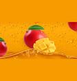 drops mango juice 3d realistic vector image vector image