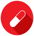 Drug tablet of the plane icon with long shadow vector image vector image