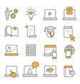 e-learning distance education flat line icons set vector image vector image