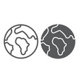 earth line and glyph icon map and planet globe vector image vector image