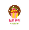 fast food logo original design badge with cupcake vector image vector image