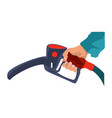 fuel pump in hand man petrol station holding vector image