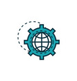 gear with world work tools engineering icon vector image