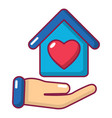 hand house icon cartoon style vector image vector image