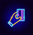 holding credit card neon sign vector image