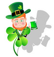 irish man irish man hold beer on shamrock for st vector image