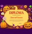 kids diploma halloween sweets and pumpkin vector image vector image