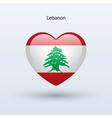 Love Lebanon symbol Heart flag icon vector image vector image
