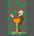 money falling on businessman vector image vector image