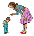mother and guilty son isolate on white background vector image