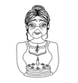 Old lady carry birthday cake vector image