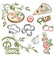Pizza set italian food vector image vector image