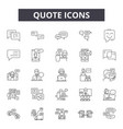 quote line icons signs set outline vector image