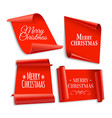 realistic red paper banners set vector image vector image