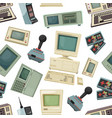 seamless pattern with different vintage computers vector image vector image