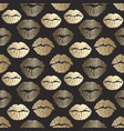 seamless pattern with golden lips print gold lips vector image vector image