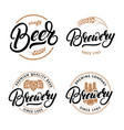 set beer and brewery hand written lettering vector image vector image