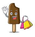 shopping chocolate ice cream character cartoon vector image