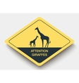 sign attention giraffes and shadow vector image