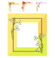 spring floral frame blooming snowdrops corners set vector image vector image