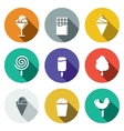 Sweets and ice cream flat icon set vector image vector image