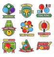 table tennis colorful logo labels collection on vector image vector image