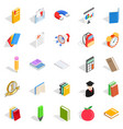 textbook icons set isometric style vector image vector image