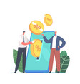 tiny businessman male character put money at huge vector image vector image