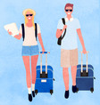 traveling man and woman couple with bags luggage vector image vector image