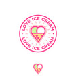 two scoops ice cream and waffle cone as heart vector image vector image