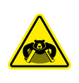 warning russia bear with accordion with yellow vector image vector image