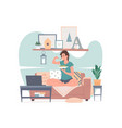 woman having dinner and watching movie at home vector image